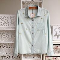 Женская джинсовая одежда Solid color cotton denim shirt embroidered banana blouse