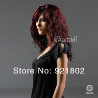 Парик 2013 Fashion18inches burgundy medium long Synthetic None Lace Wigs for women; KaneKalon cosplay new sexy cosplay
