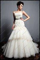 Свадебное платье ED-A0135 A-line Sashes Delicate Appliques Court Train Organza Tulle Tier Wedding Dress 2012