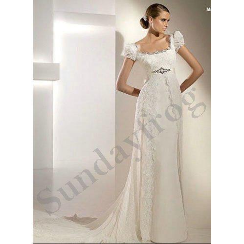 Freeshipping best selling custom made short sleeve empire for Butterfly back wedding dress