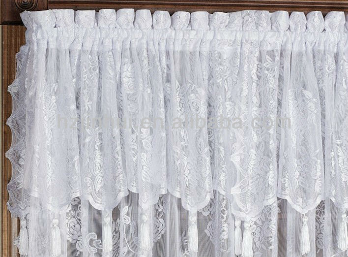Lace Curtain Panels With Attached Valance Country Curtains with Attached