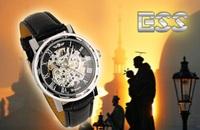 Наручные часы Brand new fashion vintage Japan movement Skeleton leather hand-wind mechanical wrist watches men