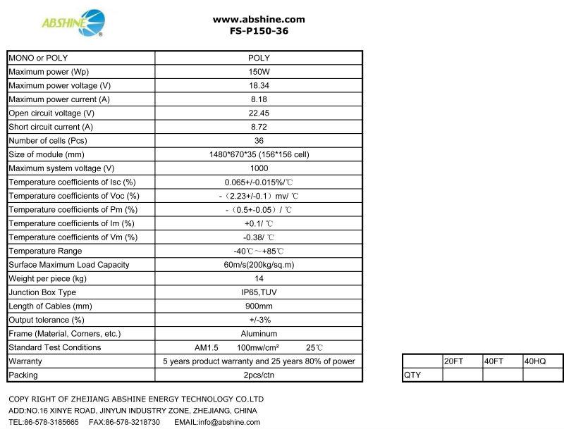 Best price per watt evacuated solar panels of FS-P150-36