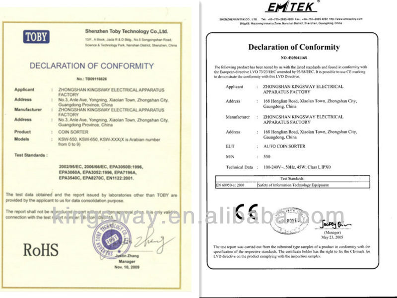 certification of the coin sorter 550