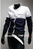 Новая мода acket контрастного цвета Молния конец ребра короткие куртки Мужские пуховики нас размер: xs, s, m, l 9088