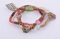 Товары на заказ Fashion Jewelry Vintage Bohemian Style Multilayer Wood Chain Bracelet Retro Beads Flower Charms Bangle SL0095