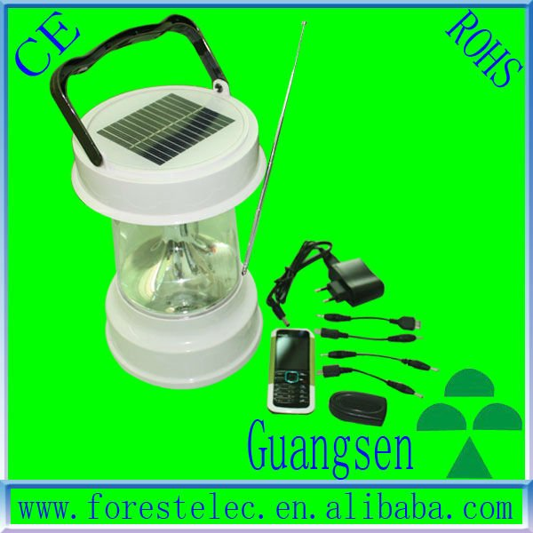 2W Protable LED solar lantern with radio and mobile charger