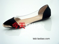 Женская обувь на плоской подошве 2013 all-match brief sexy transparent metal pointed toe hot-selling flat single shoes