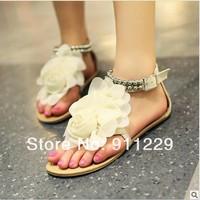 Женские сандалии 2012 New Fashion Girl's & Women BUCKLE Big Flower Casual Flat Shoes Sandals 3 colors