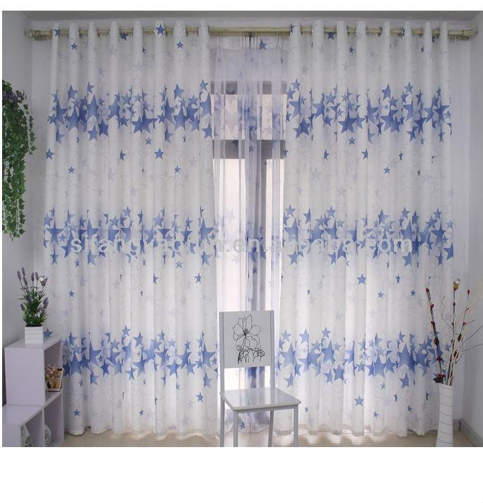 Schöne sterne design stoff vorhang mit net für kinderzimmer ...