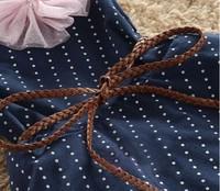 5pcs/много коротким рукавом полосатой точка цветок лето платья для девочек детей платье с поясом темно-синий