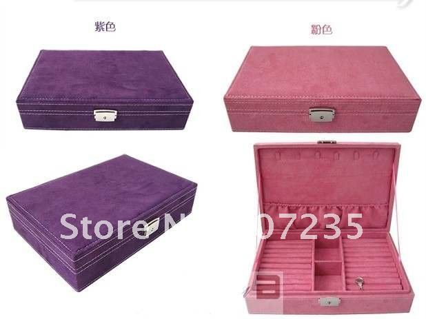 Free Shipping Wholesale wooden Cashmere Jewelry Display Storage Box Case Jewelry box hign quality 3 colors