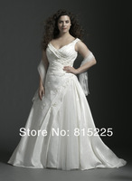 Свадебное платье A-Line Classy Wedding Dress Bridal Gown Plus Size Empress Taffeta Fabric Applique Pleat Chapel Train Lace Up Back Lustrous Hot