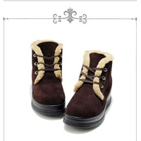 Fashion Lady's winter outdoor lace-up ankle leather height increased wool platform wedgies Pant shoes, Antiskid rubber sole, 35-40