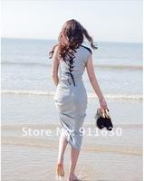 Free shipping.Gray/Black.Size:M,L.Summer Slim long  solid color cotton maxi dress. bohemian long dress.T15207099097