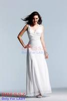 Custom Made Top Quality Empire Zipper Up Empire Waist Crystal Pleated Bodice Vneck Sleeveless Chiffon Graduation Dress