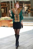 Женская одежда из кожи и замши full leather rabbit fur outerwear short design raccoon fur three quarter sleeve female