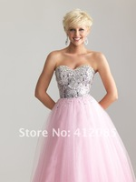 New Arrival Custom made A-line Sweetheart Beading Bodice Light Green Organza Prom Dresses