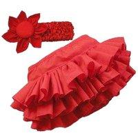 Комплект одежды для девочек New INFANT Girl Infant Ruffle BABY Skirt Pants+Headband Kid Suit Bloomers Clothes 100cm A1364