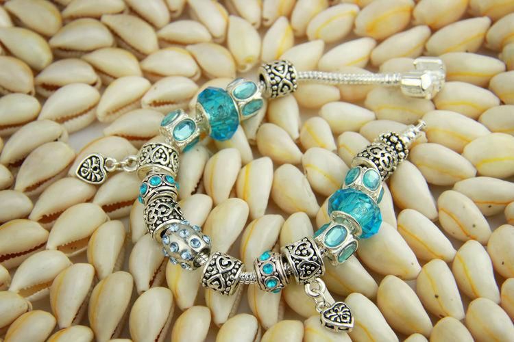 Новые прибытия Европейский Стиль 925 Серебряный Кристалл браслет для женщин с голубыми муранского стекла бисер DIY ювелирных изделий PA1394