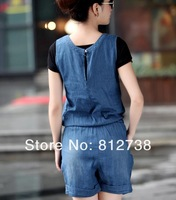 Женский джинсовый комбинезон 2013 new female - thin denim sleeveless piece pants jumpsuit pants coveralls shorts