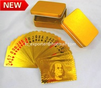 Free shipping! U.S dollar design 24K gold foil poker with tin box 3 color mix
