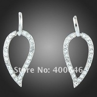 Серьги висячие Arinna hoop leaf Earring with Austria Element E1597