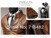Mens New Brand Slim Leather Winter Sweatshirt Jacket Mens Leather Motorcycle Outerwear Coat 2 COlor M~XXL X-359