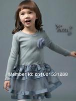 Платье для девочек 2013 new fashion kids Girl long sleeve princess cute print lace dress/casual dress flower chiffon lace/mini dress/2Y-8Y