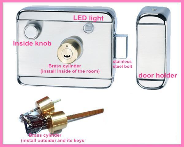Electric rim locks series single cylinder brass latch 12v for 12 volt door latch