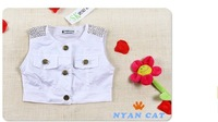 Комплект одежды для девочек Baby Girl's Two-Piece Sets Children's Clothing Female Child White Vest Denim Skirt Summer Sleeveless Suit