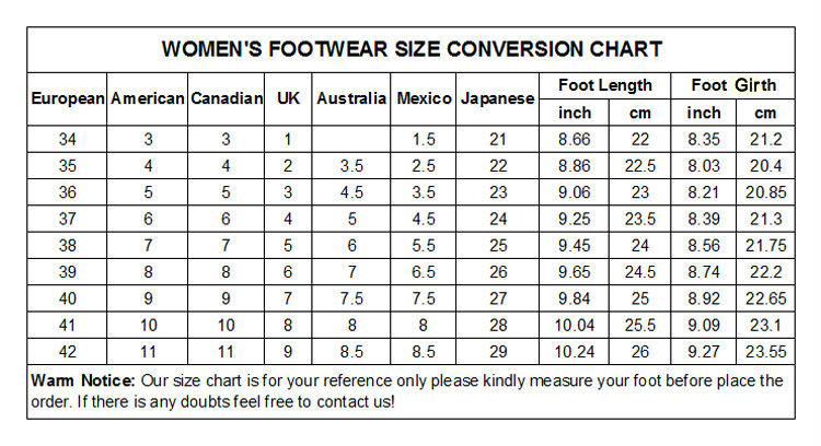 NEW WOMEN\'S FOOTWEAR SIZE CONVERSION CHART