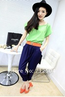 street fashion summer women's chiffon patched colorful jumpsuit overalls with free waistband wholesale 3 colors