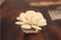 Min.order is $15 (mix order) Fashion Lovely Big Camellia Cream-coloured Ring,Resizable KJ0361186