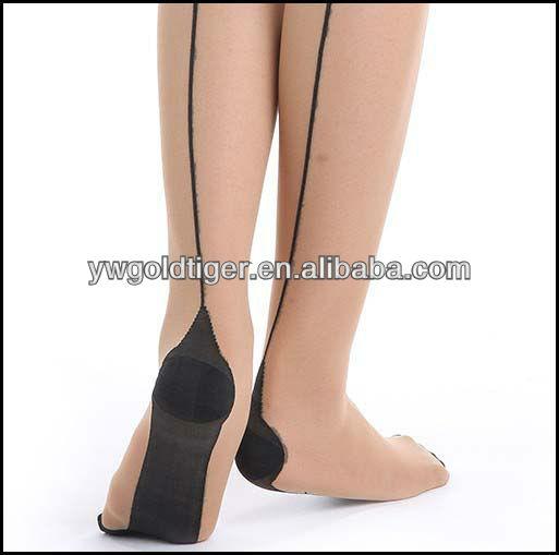 Summer Wholesale Fashion Sexy Elegant Thin Anti-slip Sheer Sunproof Tatoo Back Seam Cuben Heel As Nurse Model Woman Stocking