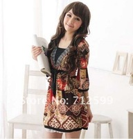 Free Shipping HOT New Fashion Dress Ethnic Trumpet Sleeves Dress 0175