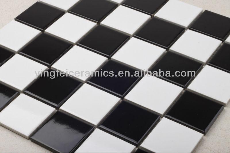 23 x 23 48 x 48 noir et blanc en c ramique mosa que salle for Carrelage mosaique noir et blanc