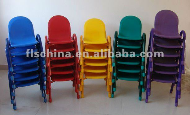 colourful plastic children chair with metal legs