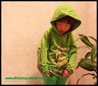 Free shipping 5pcs/lot super cool new style dinosaur hoodie unisex long sleeve green sweatshirt kids spring autumn wear