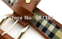 Free shipping Plaid denim waistband, ladies and man  pu leather belts