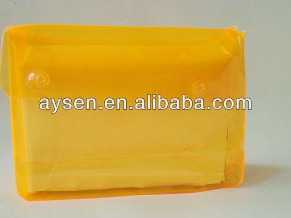 Pvc colorido saco de plástico com botão de pressão