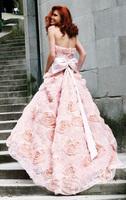 Tempting Princess Pink A-Line Wedding Dresses Bridal Gown Handmade Flower Applique Bow Ruffle Sash Chapel Train Sleeveless