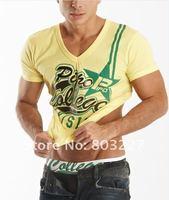 Новая мужская тенниска модальных Мужская мода футболки v шеи рубашки короткими рукавами летом t рубашки