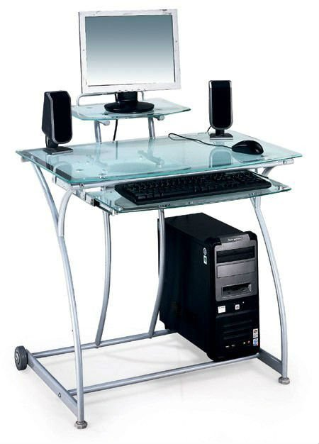 Nouvellement clear glass design pc bureau bureau d 39 ordinateur tables en v - Meuble d ordinateur en verre ...