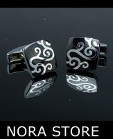 3 PAIR/LOT  XMAS GIFT SPIRAL SILVER TONED BLK ENAMEL STAINLESS STEEL SQUARE MENS CUFF LINKS