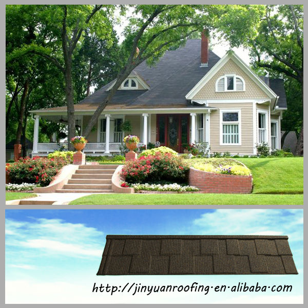 Economical and practical metal roof shingle with various colours