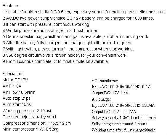 HS08ADC-KA air brush makeup compressor HSENG