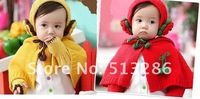 2set/lot,New Korean children wool scarf hat glove set three piece, baby caps, yellow and red, free shipping