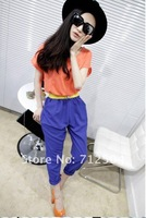 Женский комбинезон street fashion summer women's chiffon patched colorful jumpsuit overalls with free waistband 3 colors