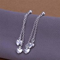 Серьги висячие E248 925 silver earrings, 925 silver fashion jewelry, Dual-Heart earrings